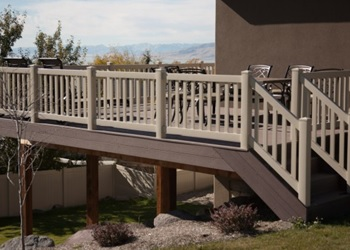 Trex Composite Decking and Tan Vinyl Railing