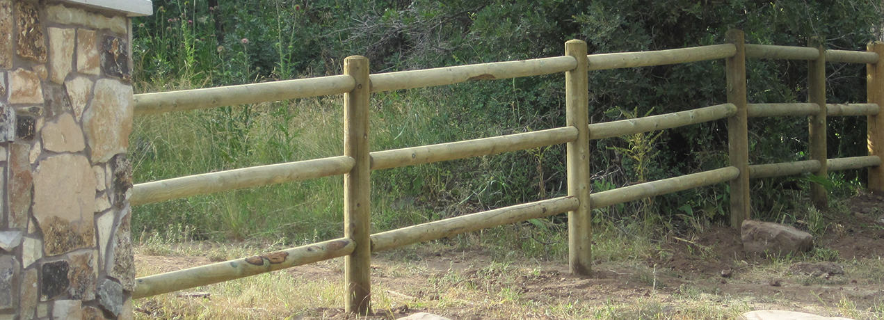 Lodge pole ranch fence deck supply