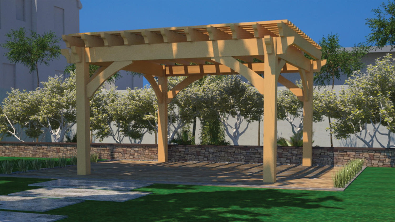 Wood Oversized Dovetail Pergola