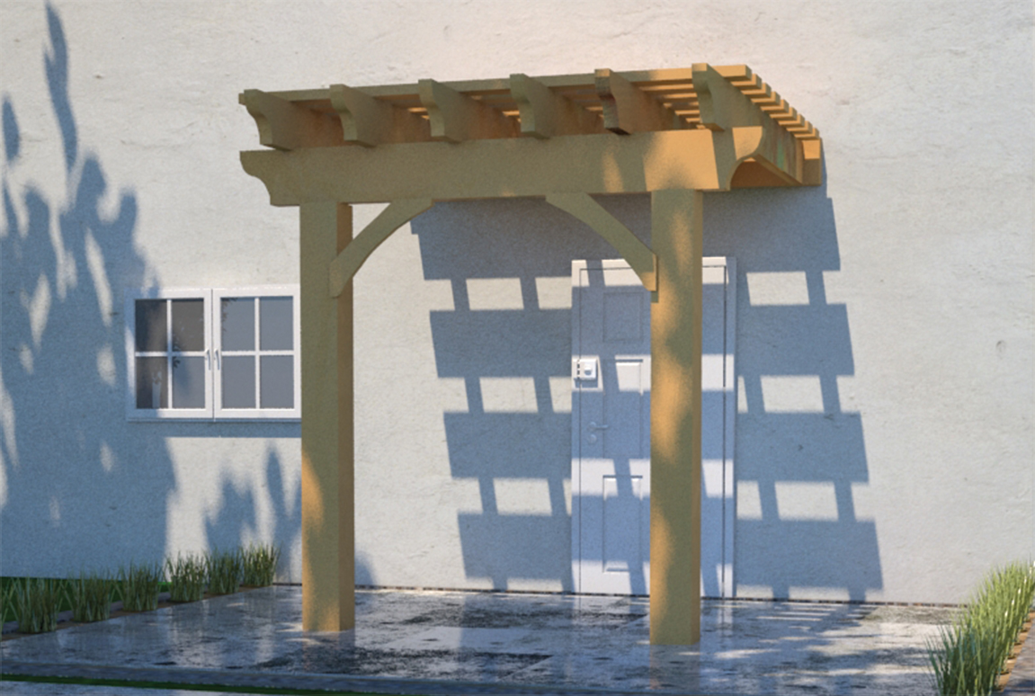 Oversize Attached Stacked Pergola
