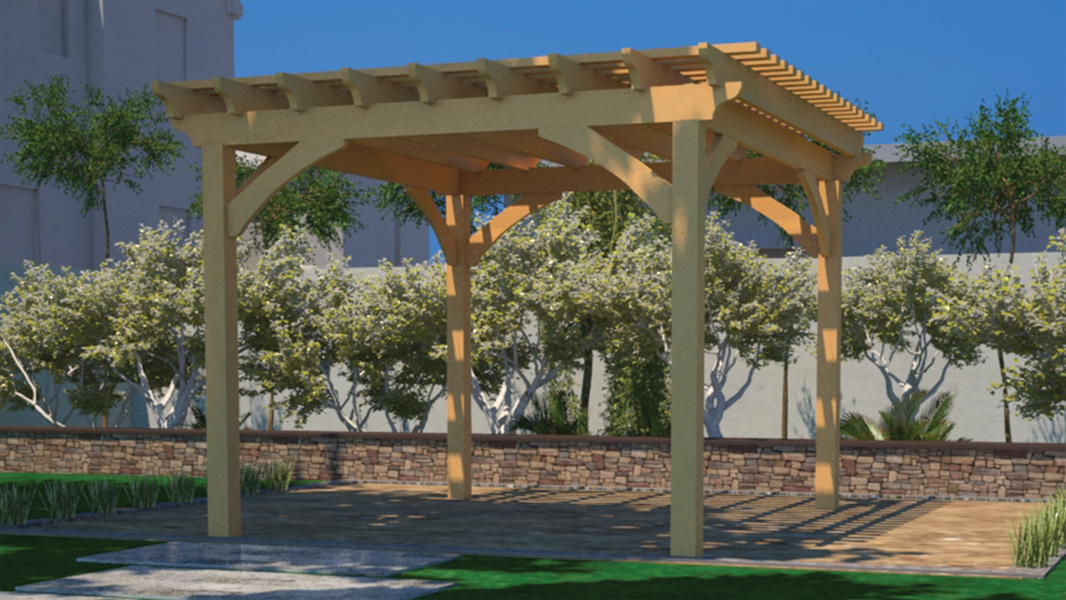 Wood stacked pergola fence deck supply for 14x14 deck plans