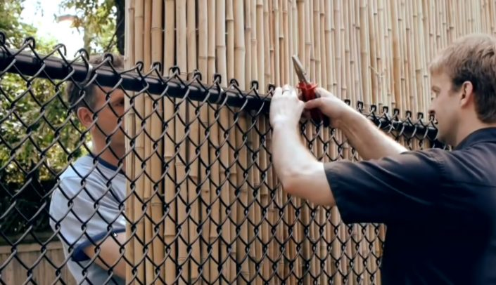 Attaching Bamboo to Chain Link Fence