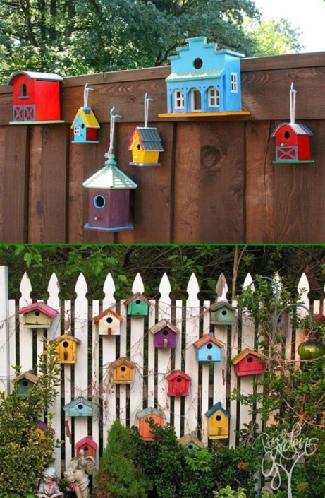 Birdhouses on Fence