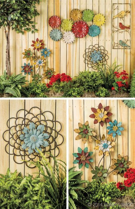 Metal Flowers on Fence