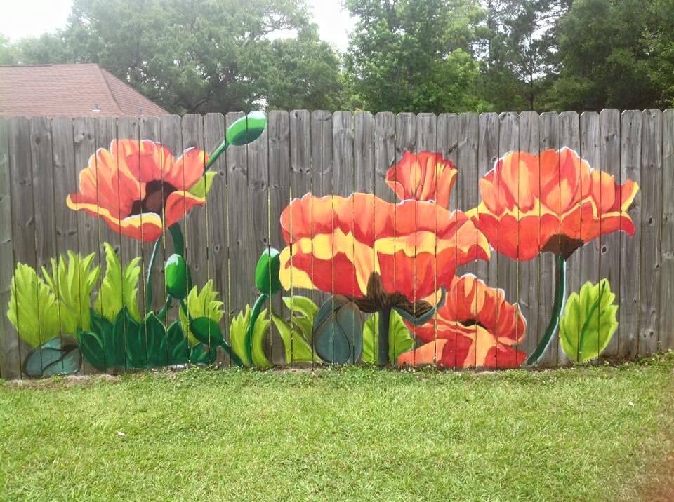 We Love This Colorful Fl Mural Painted On A Wood Fence By Artist Lori Anselmo Gomez