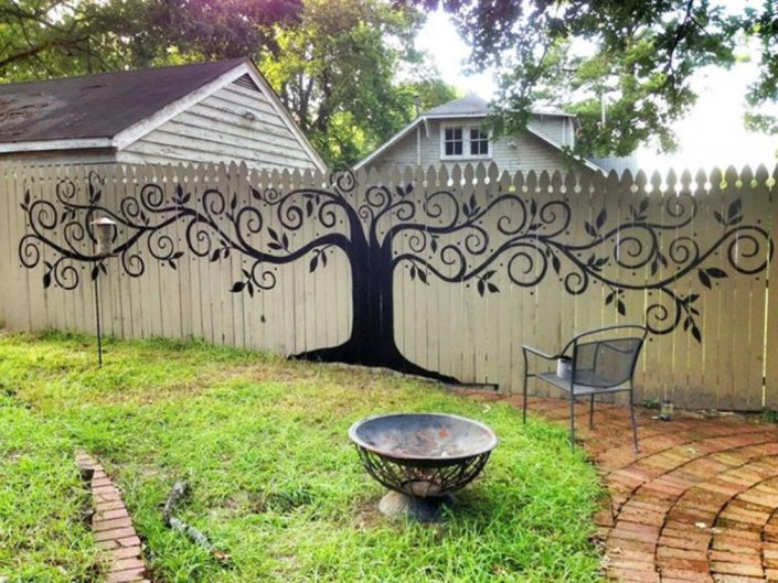 Painted Tree on Fence