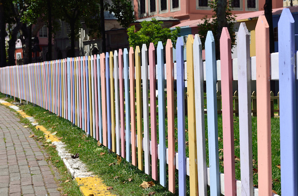 Pastel Wood Fence Pickets