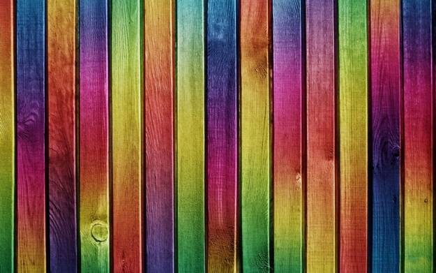 Rainbow Wood Fence