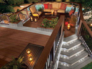 Trex Transcend Fire Pit Decking with Gravel Path Borders and Stairs, Lighting, and Trex Furniture