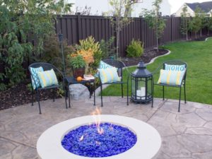 Blue Glass Fire Pit