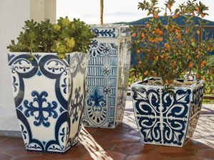 Blue and White Outdoor Planters
